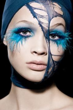 Model: Luisa / Aquamarine Model Management  Hair & Make-up: Eva Mittmann  Photos: Marie Schmidt models, eyelashes, makeup, art, mari schmidt, aquamarines, feather, blues, eyes