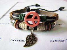 Men or Women Soft Leather Bracelet Peace Sign by braceletcool, $7.50