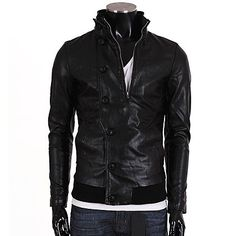 Slim Fit Zip Up Black Leather Jacket with Buttons | Sneak Outfitters