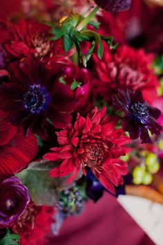 Winter wedding inspiration at the New York Public Library   Photo by His and Her weddings   Read more - http://www.100layercake.com/blog/?p=79390 #fig #red #burgundy #decor #wedding #flowers