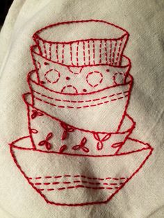 Redwork tea towels
