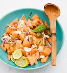 Cantaloupe Salad with Basil, Fresh Mozzarella and Onions/ Recipes from The Kitchn