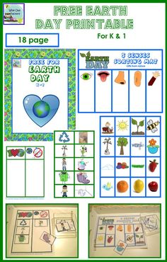 free Earth Day printable with sorting activities, a cut and paste page, and a coloring page for K-1