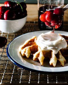 bourbon cherry waffle recipe - www.iamafoodblog.com #waffles #brunch #breakfast #recipe #cherries