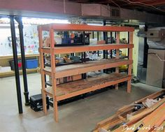 Cheap, easy to build storage shelves. He has  a few good projects on his blog