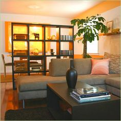 Good idea for small spaces -- dividing a linear living room with one of these shelving mechanisms