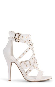 Deb Shops Open Toe Single Sole High Heel with Gold Stud Straps $30.67