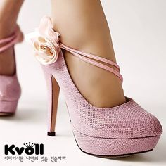 Kvoll high heels!  LOVE! kvoll high, lace flowers, ladies fashion, summer shoes, high heel, pump, pink, heels, silk flower