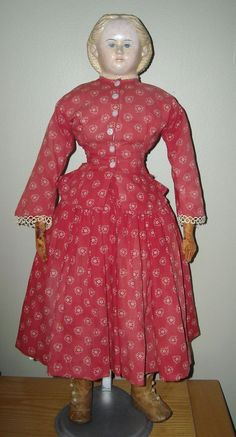 "28"" Greiner Doll w/ Blond Hair ~ 1858 Label from dollroom on Ruby Lane"