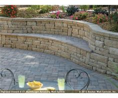 Cool bench in retaining wall.