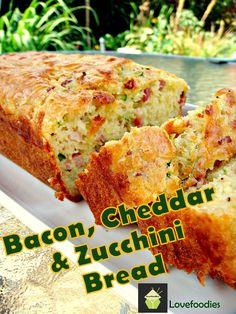 Bacon, Cheddar Zucchini Loaf. A wonderful light and fluffy bread (no yeast) with great flavours. Serve warm or cold, it's delicious either way! great for brunches, lunch boxes, and parties too! #bacon #cheese #zucchini #baking