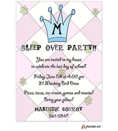 Starfish Art Pink with Blue Monogram Invitation with crown