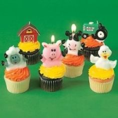 Farm Animal Cakes and Cupcakes cupcak, birthday parties, farms, candles, animal cakes, party cakes, farm party, farm parti, cake toppers