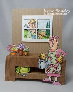 His and Hers Gardeners ... Art Impressions Ai Hampton Art clear stamp sets found at Michael's. Adorable handmade garden work bench window card.