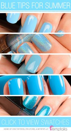 5 Blue Nail Polishes to Try for Summer - 1.Cult Nails Nakizzle's Shizzle — a sky blue cream  2.Color Club Over the Moon — a holographic sky blue  3.Zoya Rocky — a muted, sky blue  4.Illamasqua Noble — a bold, bright blue cream  5.Formula X Photoelectric — a brightened blue with a hint of teal