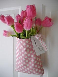 Pink Tulips Pink Polka Dots