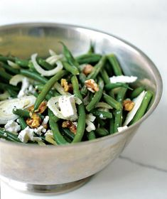 Green Bean Salad With Walnuts, Fennel, and Goat Cheese | Get the recipe: http://www.realsimple.com/food-recipes/browse-all-recipes/green-bean-salad-walnuts-fennel-goat-cheese-10000001031592