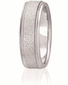 Stone Finish Comfort Fit Wedding Band With Milgrain For Men And Women. Available With Various Finishes In Your Choice Of 14K & 18K White, Yellow, Rose & Two Tone Gold, Platinum & Palladium