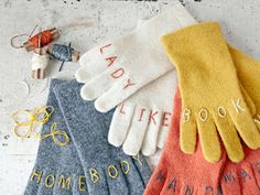 DIY Knuckle Tattoo Embroidered Gloves Tutorial from Country Living here. via True Blue Me and You