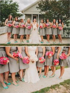 tan and mint bridesmaid look. See more of this rustic wedding here  http://www.weddingchicks.com/2013/09/20/wedding-in-pink-and-gold/
