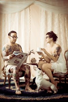 #classy #tea #drinkingtea #tattooedcouples #love #couples #tattoo #tatted #tats #ink #inked #bodyart #rebel #rebelcircus See more at www.facebook.com/therebelcircus