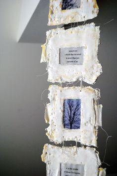 Spirits by Bridgette Guerzon Mills 2010 - plaster, inkjet prints, encaustic, string #books_arts #paper_art #mixed_media