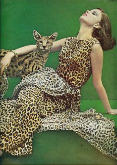 vintage december, cat, vintage photos, emerald, cheetah print, dress, anim print, animal prints, leopard prints