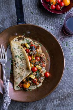 Rava Dosa (Indian Crepes) with Summer Squash + Tomato Chickpea Masala