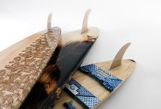 Peter Walker hollow wooden surfboard design. Close up's show the incredible detail of the build and artwork!!