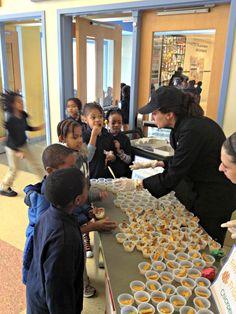 Fresh Feature Friday at Walker Jones EC: Kids taste chickpeas three ways.