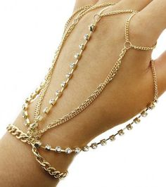 Hand Chain Finger Bracelet Gypsy Web Ring Combo Gold Crystal Handchain Body Jewelry Fashion