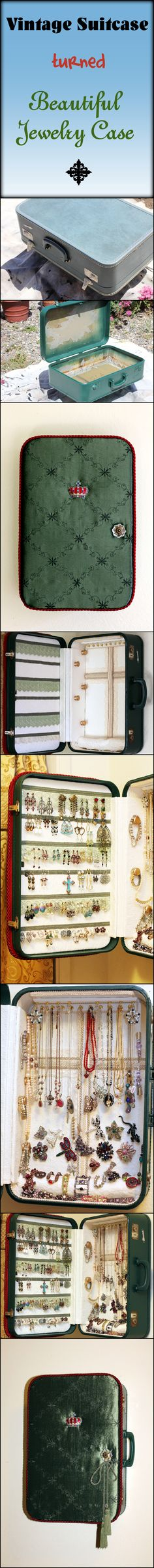 Vintage suitcase and Jewelry case. Can't wait to make the next jewelry suitcase!