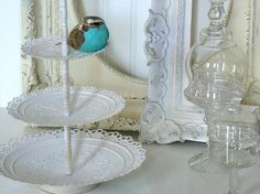 Upcycled Metal Three Tiered Wedding White Lacey Pedestal Dessert Dish