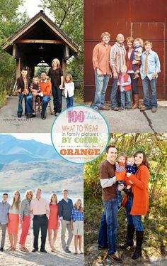Love these orange theme outfits for family photos! Great ideas for upcoming fall photography or what to wear in family pictures   KristenDuke.com