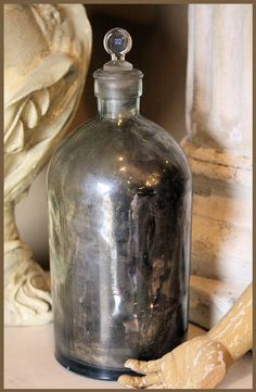 1800s Antique Mercury Glass Apothecary Jar