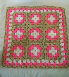 American Girl 18 inch Doll size, Crochet Granny Square Throw Afghan in white, bright pink, and cream