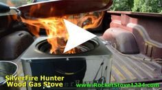 Silver Fire Hunter Wood Gas Stove Burning and Cooking ~ Steven Harris. http://www.RocketStove1234.com