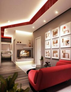 Red Furniture Sofa and Cute White Wall Art Decoration in Modern Living Room Decorating Design Ideas