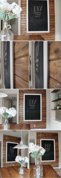 DIY Chalkboard + Wood Planked Wall small wall into kitchen.
