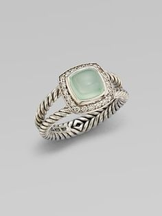 David Yurman - Diamond Accented Aqua Chalcedony Ring