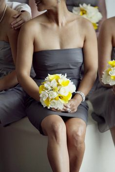 Grey dresses. Love the Yellow rose and white calla lily bouquet