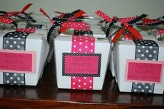 party favors, goodies, giftwrap idea, bunco party, shower gifts, parties, boxes, holidays, parti favor
