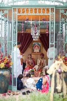 Iron gazebo converted into an outdoor #mandap for this Russian Indian Hindu wedding