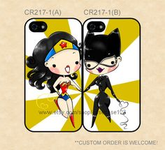 BEST FRIENDS CELLL PHONE CASE.WONDER WOMAN AND CAT WOMAN.