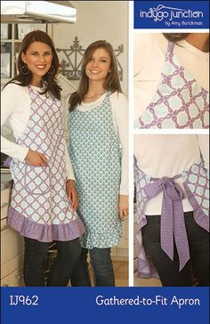 The Gathered-to-Fit apron sewing pattern features a continuous, adjustable neck and waist tie making a personalized fit simple!  The sweet ruffle adds a feminine touch and the double patch pocket is a useful design detail.  Simple to make and fun to wear.