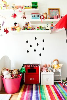 floating shelves, kids rooms decor, rug, kids room organization, color, kid rooms, playroom, play areas, rain drops