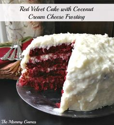 Valentine's Day Red Velvet Cake with Coconut Cream Cheese Frosting