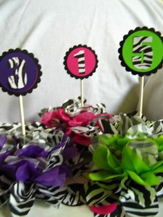 ZEBRA centerpiece table decoration by missdaisyw on Etsy, $24.00 More or less can be purchased.  Favor bags and other items in our shop to match!