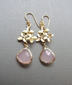 Cherry Blossom and Pink Ice Glass Earrings.