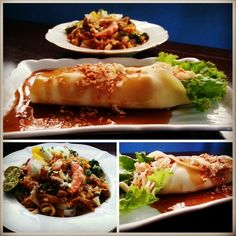 Pansit Malabon is just one of the favorite snacks of Filipino's and to make it a full meal for lunch, try to match it up with fresh hearts of palm roll drizzled with caramelized sauce and topped with peanuts.